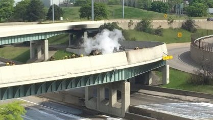 Smoke from a tanker truck fire on northbound I-75 could be seen for miles on May 24, 2015.