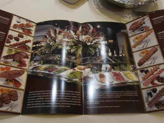 The menu isn't for ordering, since everything is included, but rather an explanation of the different meats, some of which are unusual cuts native to Brazil.
