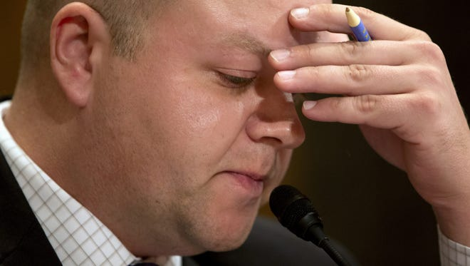 """Sean Kirkpatrick of Chicago takes a moment as he talks about the suicide of his brother, while testifying on Capitol Hill in Washington, Tuesday, Sept. 22, 2015, before the Senate Homeland Security and Governmental Affairs hearing:  """"Improving VA Accountability: Examining First-Hand Accounts of Department of Veterans Affairs Whistleblowers."""""""