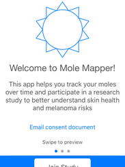 A screen shot of the Mole Mapper app for the iPhone.