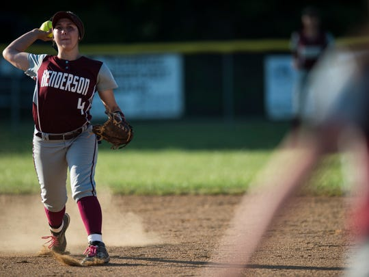 Henderson County's Sophie Margelot (04) throws the ball toward first base during the district softball final at Webster County High School on Thursday, May 24, 2018. Webster County defeated Henderson County 3-0.