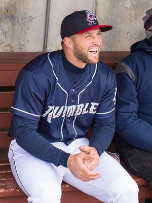 Apr 7, 2018; Binghamton, NY, USA; Binghamton Rumble Ponies left fielder Tim Tebow at NYSEG Stadium.