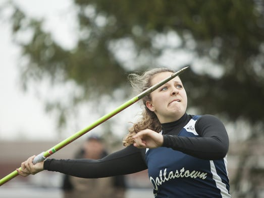 Dallastown's Lillian Cook competes in the girls' javelin.