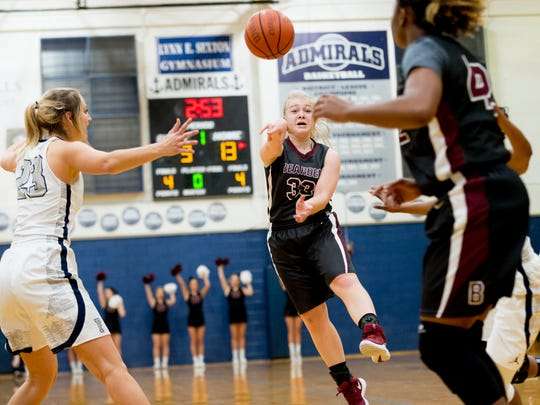 Bearden's Emma Stone (33) passes the ball to Shekinah