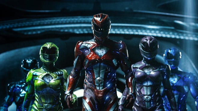 "From left to right: Trini the Yellow Ranger (Becky G), Zack the Black Ranger (Ludi Lin), Jason the Red Ranger (Dacre Montgomery), Kimberly the Pink Ranger (Naomi Scott) and Billy the Blue Ranger (RJ Cyler) in ""Power Rangers."""