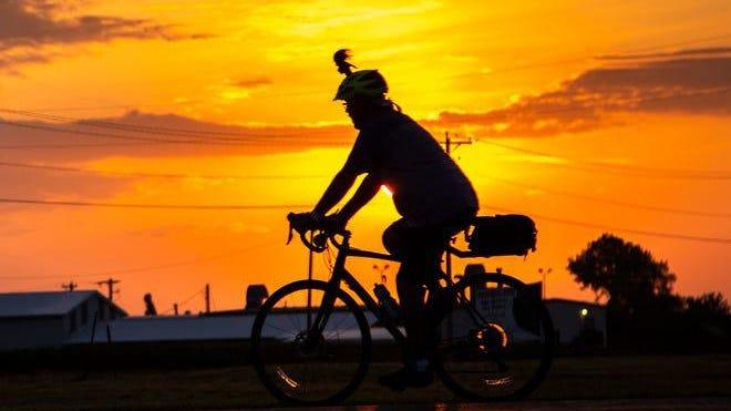 RAGBRAI riders kick off day seven, Saturday, July 27, 2019, outside West Burlington, Iowa.