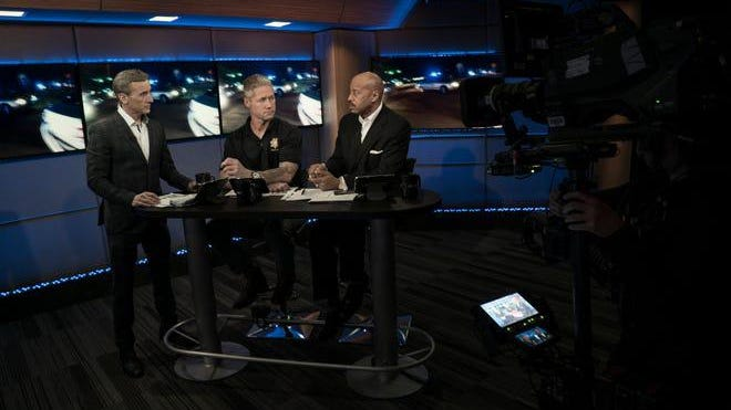 """Live PD"" host Dan Abrams speaks with analysts Sean ""Stick"" Larkin and Tom Morris Jr. on the set of  the unscriptes series."