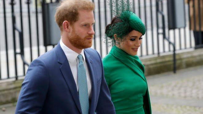 Prince Harry and Duchess Meghan of Sussex arrive to attend the annual Commonwealth Day service at Westminster Abbey in London on March 9, 2020.