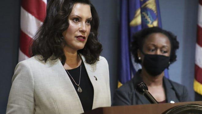 Michigan Gov. Gretchen Whitmer gives an update on the state's response to the coronavirus pandemic on Wednesday, June 17, 2020.