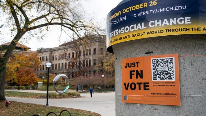 A Just FN Vote sign on U-M central campus in Ann Arbor, Friday, Oct. 30, 2020.