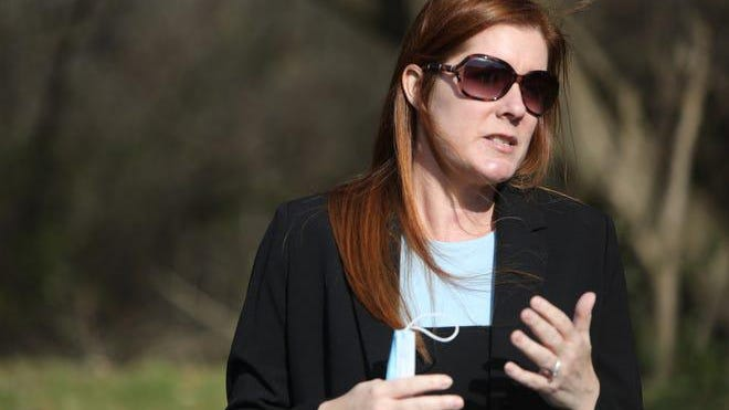 Wayne County Board of Canvassers Chairwoman Monica Palmer speaks outside of her attorney Michael Schwartz's Farmington Hills office Friday, Nov. 20, 2020, during a press conference.