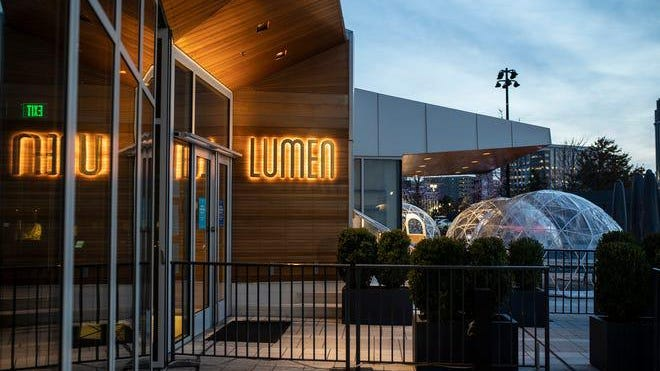 Outdoor dining igloos at Lumen near Beacon Park in downtown Detroit on Oct. 21, 2020.