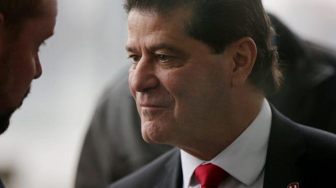 Unifor National President Jerry Dias, who is negotiated with the Detroit Three on behalf of Canadian autoworkers, is greeted at the Renaissance Center in Detroit on Thursday, Dec. 20, 2018.
