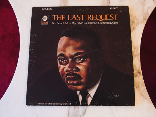 "A copy of jazz saxophonist Ben Branch's album, ""The Last Request,"" rests on a table at the Memphis home of his widow, Vivian. Branch  spoke to Martin Luther King Jr. moments before he was shot at the Lorraine Motel."