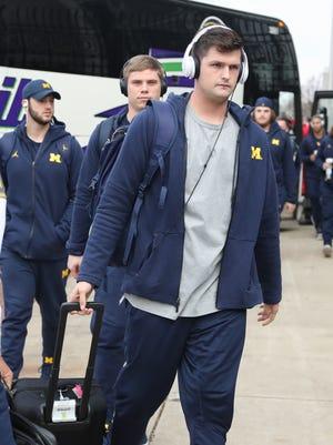 Michigan quarterback Wilton Speight arrives for the game against Ohio State on Saturday, November 26, 2016 at Ohio Stadium in Columbus.