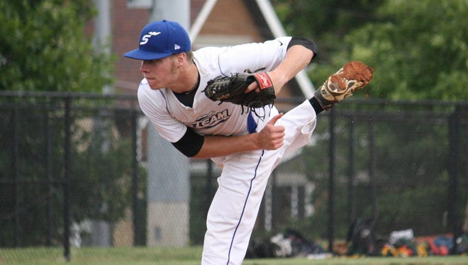 Cincinnati Steam pitcher Hunter Dunn, a Cooper High School graduate, delivers against the Southern Ohio Copperheads on June 18 at Max McLeary Field.