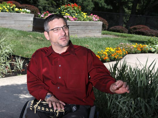 Matt Castelluccio of White Plains became paralyzed in a motorcycle accident in 2003. Despite no leg function and very little arm function, he plays adaptive rugby and softball. Castelluccio, 41, shares his story at Helen Hayes Hospital, where he received his rehab an now works, July 12, 2018 in Stony Point.