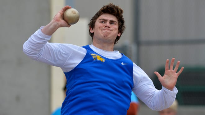 Noah Ambuehl of Great Falls Central is the Class C defending state champion in the shot put. He will be among many fine athletes competing in Great Falls on Friday at the District 8C-10C meet.