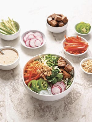 "This Spring Roll Bowl is from ""Vegan Buddha Bowls"" by Cara Carin Cifelli."