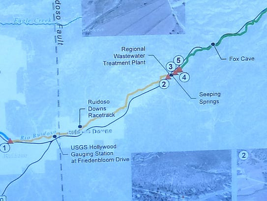 The map shows key points along the river.