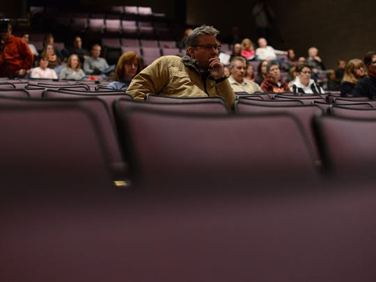"Parents listen in during a program for them titled ""The Dangers of Sexting and Electronic Social Media"" at De Pere High School."