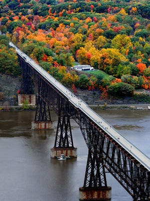 This aerial view of the Walkway Over the Hudson looks west toward Highland.