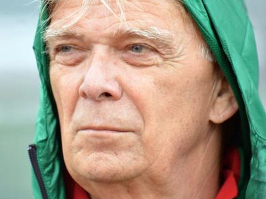 Cameroon's head coach Volker Finke looks on prior to their friendly soccer match against Paraguay in Kufstein, Austrian province of Tyrol, on Thursday, May 29. 2014. (AP Photo/Kerstin Joensson)