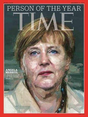 German Chancellor Angela Merkel, is featured on the