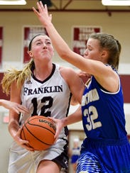 Franklin's Holly Harris (12) battles Brentwood's Amelia