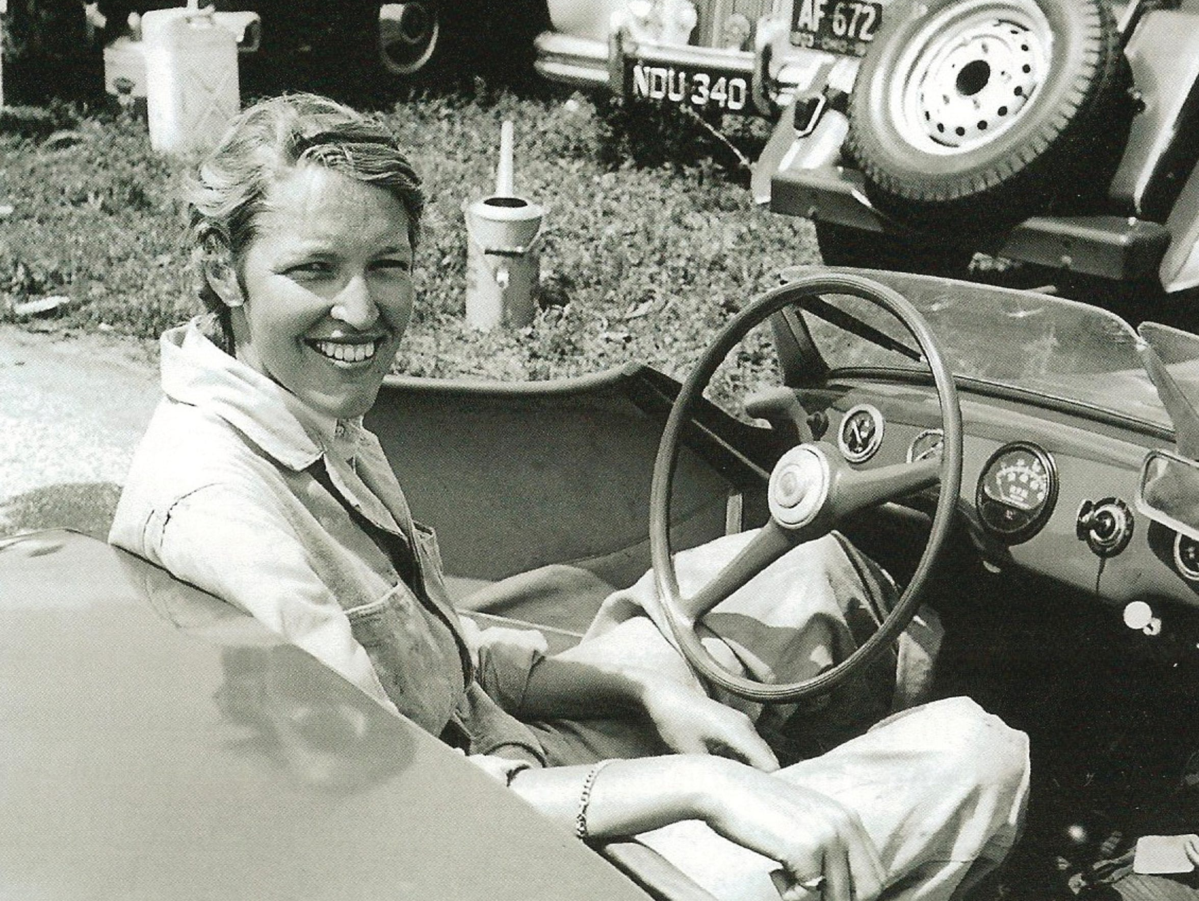 Isabelle de Tomaso shown as a race car driver in Italy