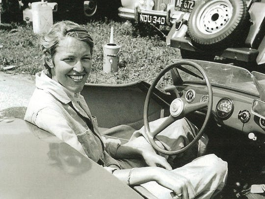 Isabelle de Tomaso shown as a race car driver in Italy in the 1950s, is the daughter of Monmouth Park founding father Amory L. Haskell. De Tomaso, now 86, owns Irish War Cry, a contender in the 50th Betfair.com Haskell Invitational, named for her father.