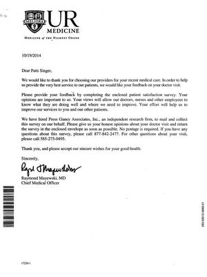 Letter from UR Medicine's chief of medicine explains purpose of a patient satisfaction survey.