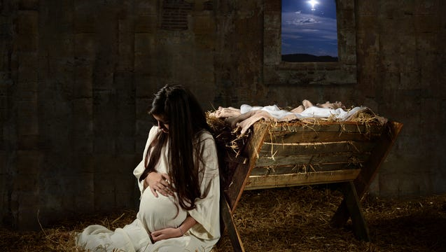 Mary praying on Christmas Eve.