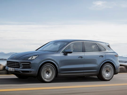 This photo provided by Porsche shows the 2019 Porsche Cayenne that was shown at the 2017 Frankfurt auto show. Fully redesigned for the 2019 model year, the new Cayenne features a lighter chassis, more powerful engines and a revised interior. (Courtesy of Porsche Cars North America Inc. via AP)