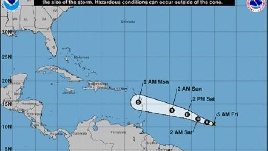 Beryl became the season's first hurricane on July 6, 2018, and is forecast to maintain hurricane strength as it nears the Caribbean, according to the National Hurricane Center.