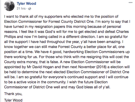 Tyler Wood posted a note to supporters on Facebook