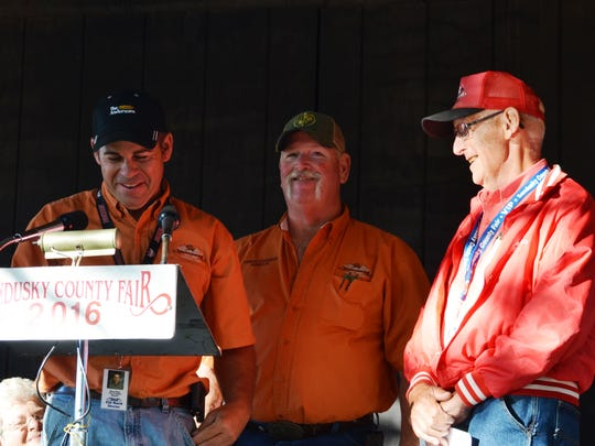 Robert Zilles, right, is honored for serving 36 years