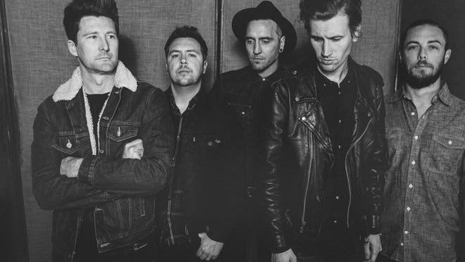 Anberlin consists of (left to right) Stephen Christian (vocals), Joseph Milligan (guitar), Christian McAlhaney (guitar), Nathan Young (drums), and Deon Rexroat (bass).