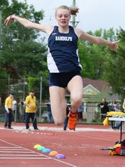 Randolph's Meghan O'Malley competes in the triple jump