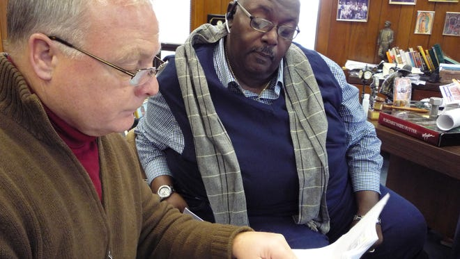 Haverstraw Supervisor Howard Phillips, left, and Wilbur Aldridge, Mid-Hudson/Westchester regional director for the NAACP, discuss their concerns about the proposed waste-to-energy plant in Stony Point.