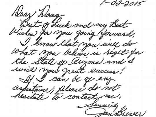 Former Gov. Jan Brewer wishes Gov. Doug Ducey well
