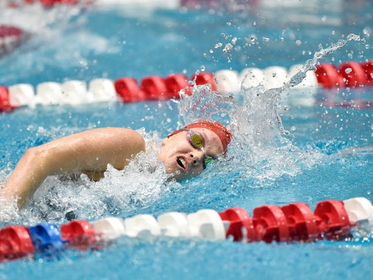 Susquehannock's Katlyn Baer swims the girls' 200-yard freestyle in the PIAA District 3 AA girls' swimming championships Friday, March 2, 2018, at Cumberland Valley. Baer placed second in the event.