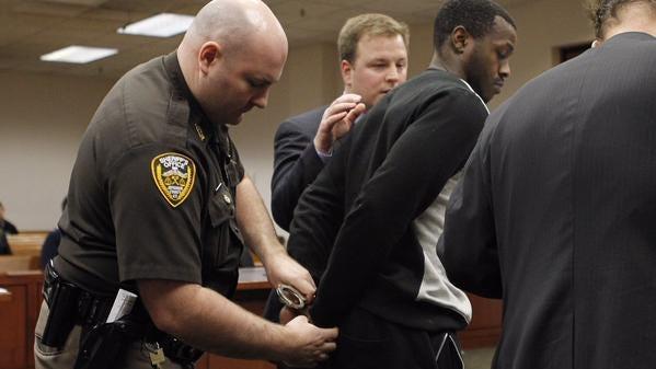 Former University of Louisville basketball player Chris Jones is arraigned on Thursday, February 26, 2015.