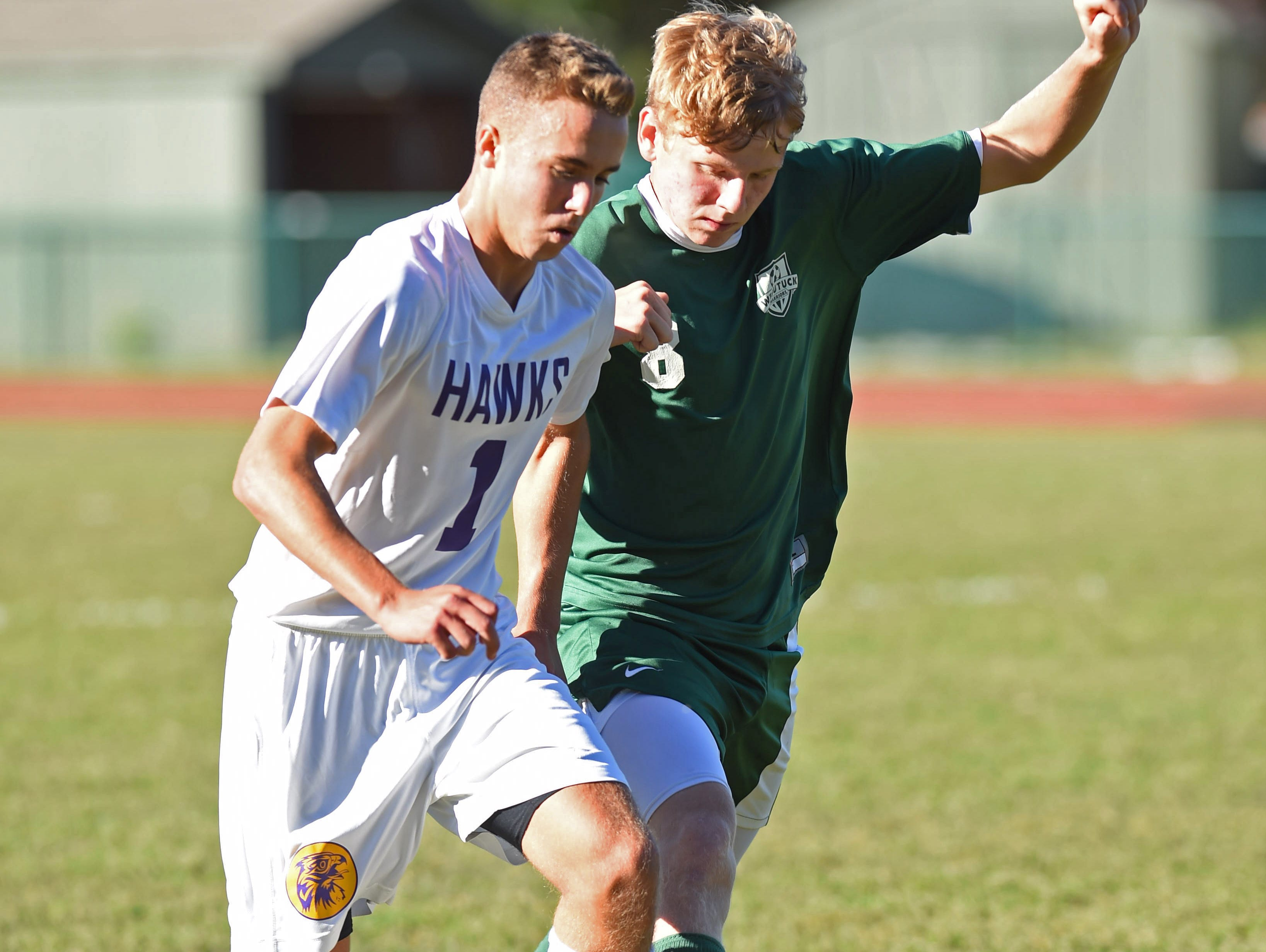 Rhinebeck's Quinn Graziano keeps ahead of Webutuck's Ethan Lounsbury during Thursday's 1-1 tie in Rhinebeck.
