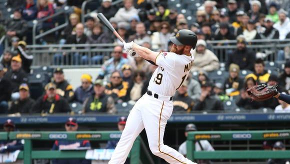 Pittsburgh Pirates third baseman Colin Moran (19) hits
