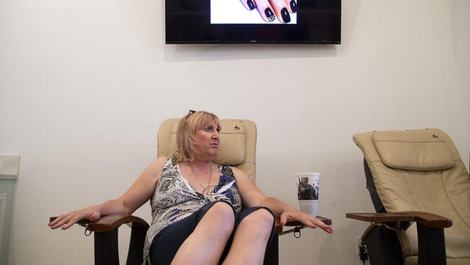 Briana Sandy gets a manicure and pedicure at White Spa in Mesa.