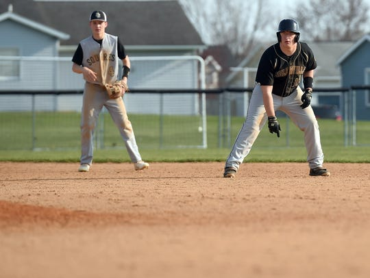 Biglerville's Conor Orner gets a lead off of second