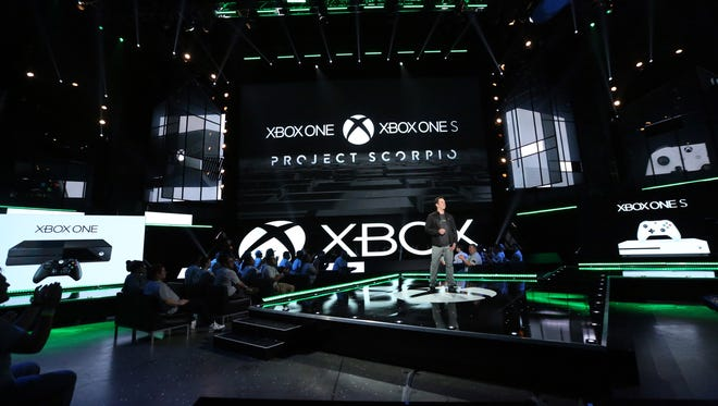 Phil Spencer, Head of Xbox, discusses the Xbox One family of devices including the newly unveiled Project Scorpio and Xbox One S at the Xbox E3 2016 Briefing on June 13, 2016, in Los Angeles.