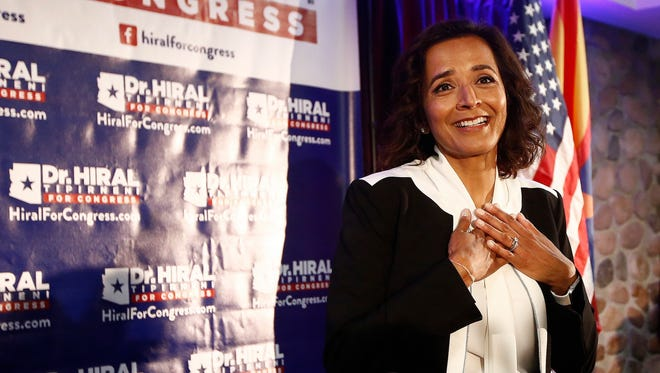 Democratic candidate for the 8th Congressional District, Dr. Hiral Tipirneni pauses as she is greeted by supporters after polls closed in her run against Republican Debbie Lesko as each candidate looks to fill the seat vacated by Republican Rep. Trent Franks in a special election Tuesday, April 24, 2018, in Glendale, Ariz. Lesko ultimately won the election.