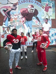Paulsboro's (from left) Bryce Holloway, Joey Perez, Cherron Quarles and Santino Morina hope to lead the Red Raiders to the 18th sectional championship in program history.